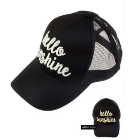 Hello Sunshine Color Changing Ponytail Cap- Black