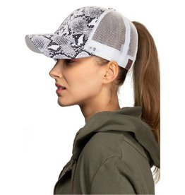 Ponytail Messy Bun Snake Print Baseball Cap- Black/White