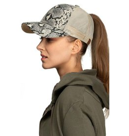 Ponytail Messy Bun Snake Print Baseball Cap- Natural