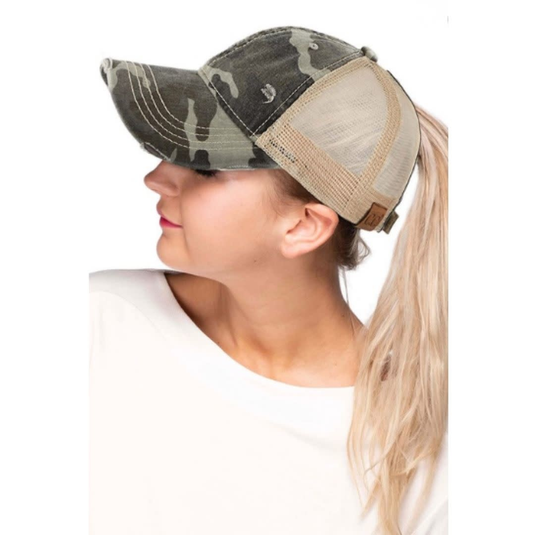 Distressed Camo Ponytail Baseball Cap - Olive