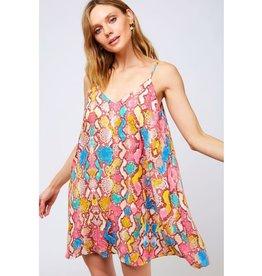 Dream Chaser Animal Print Mini Dress - Fuschia Multi