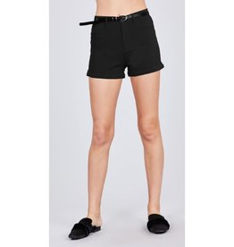 Blaze The Way Belted Bengaline Shorts - Black