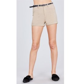Blaze The Way Belted Bengaline Shorts - Khaki