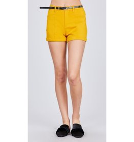 Blaze The Way Belted Bengaline Shorts - Yellow