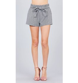 All Of You Waist Bow Tie Plaid Shorts - Black/ White