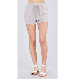 Cross Over Drawstring Stripe Shorts - Khaki/White