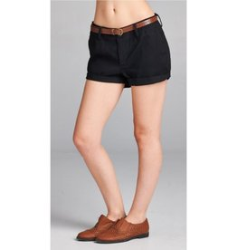 Dive In Twill Belt Shorts - Black