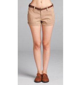 Dive In Twill Belt Shorts - Khaki