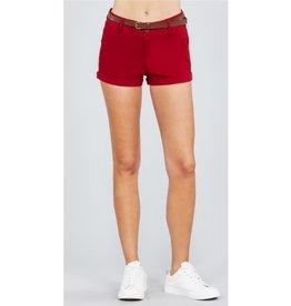 Dive In Twill Belt Shorts - Dark Red