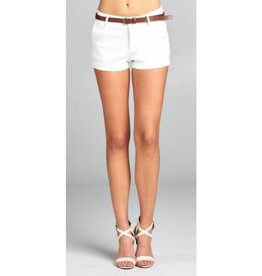 Dive In Twill Belt Shorts - Off White