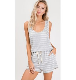 Can't Fight This Stripe Waist Drawstring Romper - H.Grey/Ivory