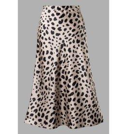 Happy Ending Side Zipper Skirt - Taupe/Black
