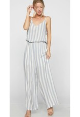 What Goes Around Striped Jumpsuit - Lt. Blue/Ivory