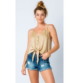 Kiss & Tell V- Neck Cami Crop Top Front Tie - Stone