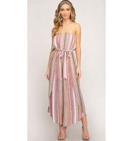 All Of Me Multi Striped Woven Jumpsuit - Olive Combo