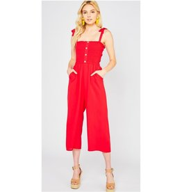 Electric Vibes Smocked Self Tie Jumpsuit - Red