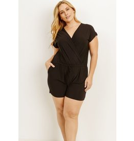 From A Small Town Drawstring Romper - Black