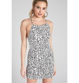 Here I Stand Leopard Print Crossed Back Ruched Bodycon Dress - Off White/Black