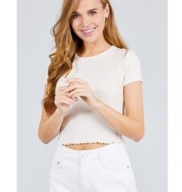 It's Time Short Sleeve Lace Trim Top - Cream