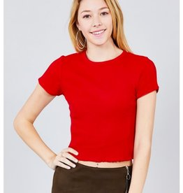 It's Time Short Sleeve Lace Trim Top - Red