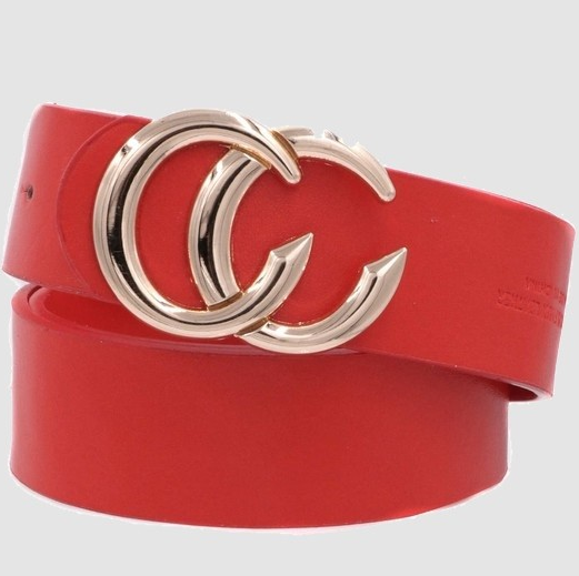 Double CC Faux Leather Belt - Red
