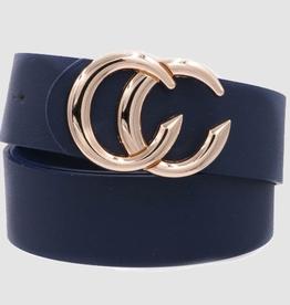 Double CC Faux Leather Belt - Navy