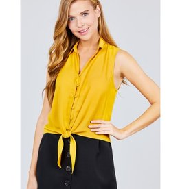 Long Walks Sleeveless Shirt Front Tie - Honey Mustard