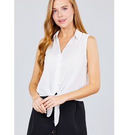 Long Walks Sleeveless Shirt Front Tie - Off White