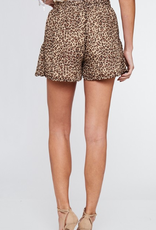 Spot On Leopard Print Ruffled Shorts - Taupe