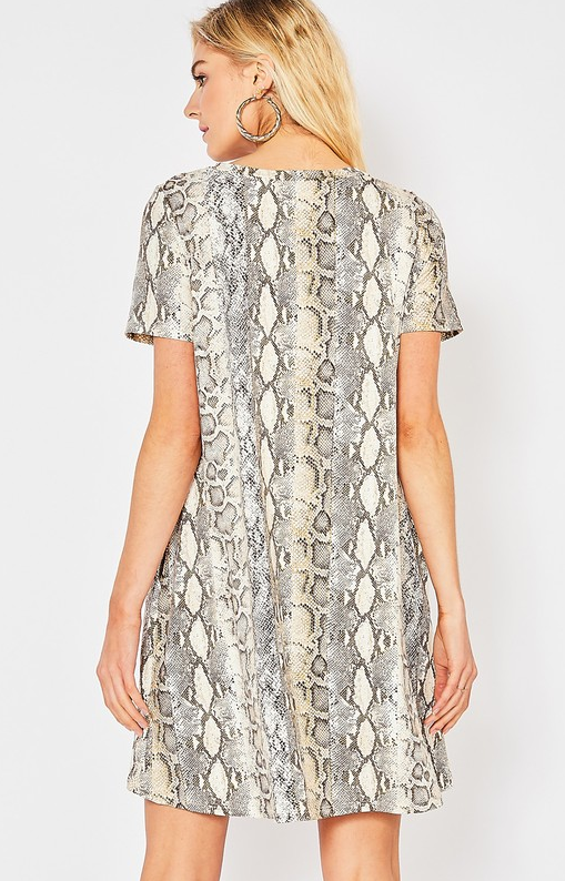 I'll Be There Snake Print Dress - Brown