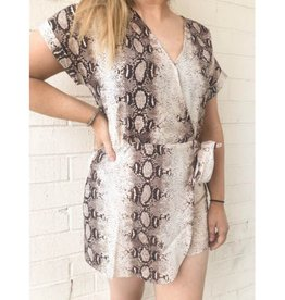 Let Us Face It Snake Skin Print Woven Romper - Taupe