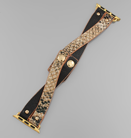 Animal Print Criss Cross Apple Watch Band - Beige Snake