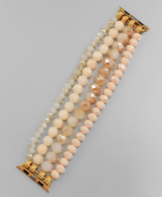 Beaded Watch Band - Ivory/Multi/Gold