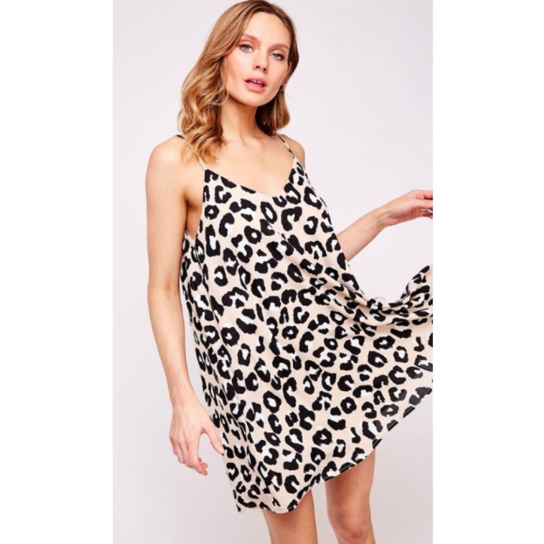 Tell Me Again Animal Print Mini Dress - Beige Multi
