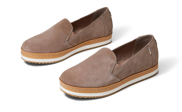 TOMS Suede Women's Palma Wrap Slip-On - Taupe Gray