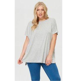 Arm's Wide Open Piko Short Sleeve Top -  Heather Grey
