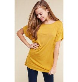 Arm's Wide Open Piko Short Sleeve Top - Mustard