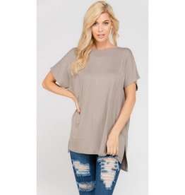 Arm's Wide Open Piko Short Sleeve Top - Mushroom