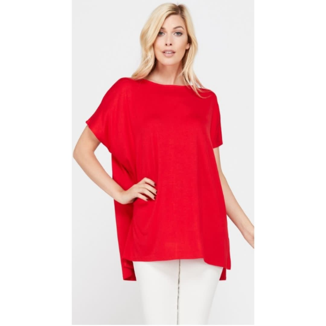 Arm's Wide Open Piko Short Sleeve Top - Red