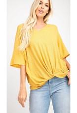 Not Just Yet V Neck Front Waist Short Sleeve - Honey Mustard