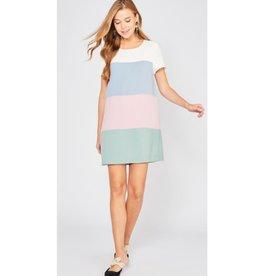 Take A Break Color Block Shift Dress - Blush