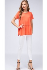 Gets Me Going Solid Scoop Neck Top - Coral