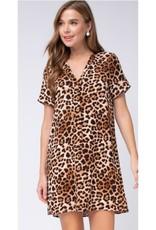 Life Is Sweet Leopard Print V-Neck Dress - Brown