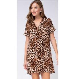 Life Is Sweet Leopard Print V-Neck Dress - Brown