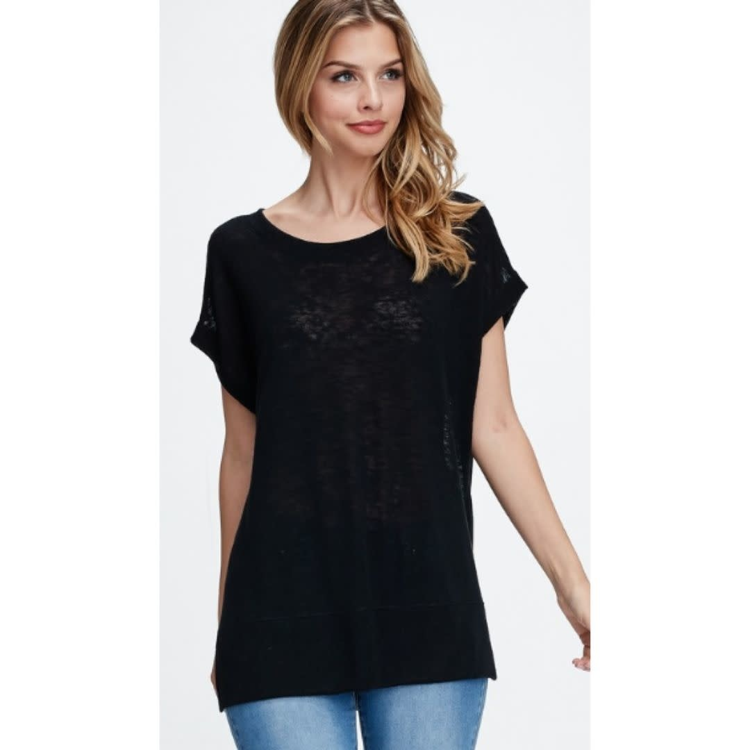 Wouldn't It Be Nice Loose Fit Round Neck Short Sleeve Top - Black