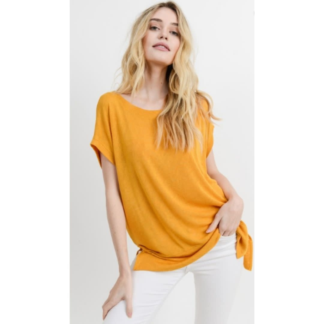 Wouldn't It Be Nice Loose Fit Round Neck Short Sleeve Top - Mustard