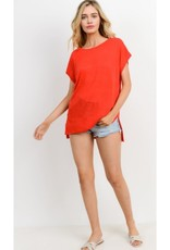 Wouldn't It Be Nice Loose Fit Round Neck Short Sleeve Top - Red