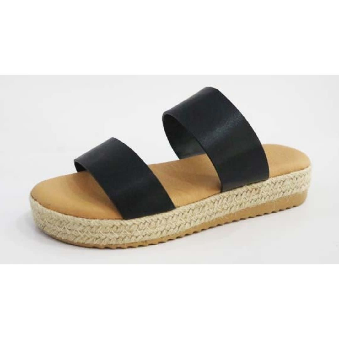 First Wish Two Strap Espadrille Sandal - Black