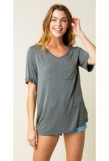 Bust A Move Knit V-Neck Top - Charcoal