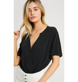 The Old Me Surplice Knit Top Short Sleeve - Black